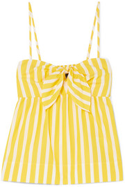 J.Crew Mireille knotted striped cotton-poplin camisole