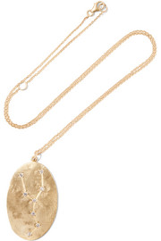 Taurus 14-karat gold diamond necklace