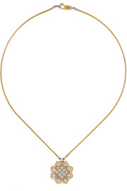 Rombi 18-karat yellow and white gold diamond necklace