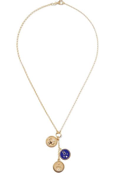 Foundrae Karma 18-karat Gold, Diamond And Enamel Necklace