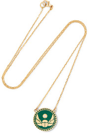 Protection 18-karat gold, diamond and enamel necklace