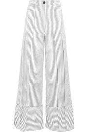 TOME Pleated striped cotton wide-leg pants