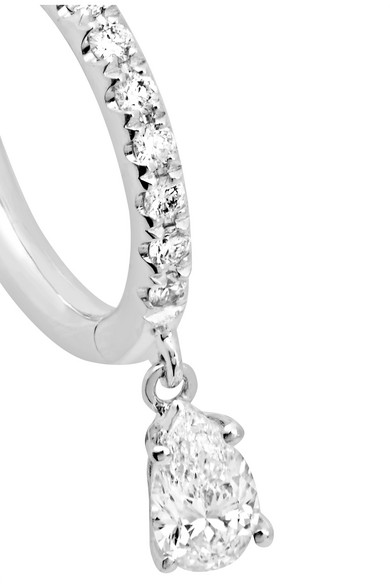 Sophia Huggies 18-karat White Gold Diamond Earring - one size Anita Ko X1mt6QCh6e
