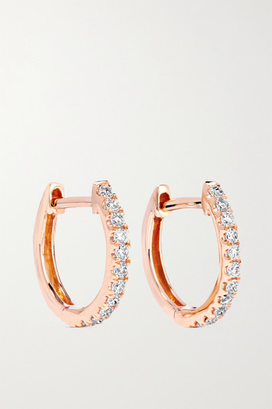 Anita Ko - Huggies 18-karat Rose Gold Diamond Earrings