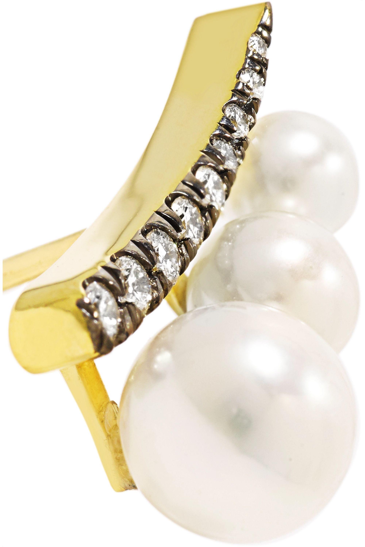 Jemma Wynne 18-karat gold, pearl and diamond earrings