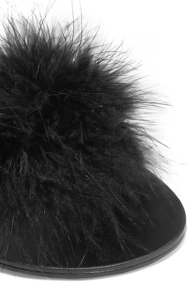 Le Petit Trou Jacqueline Slippers aus Leder mit Federverzierung Suche Nach Günstigem Preis Online Kaufen Authentisch Günstiger Preis Vorbestellung Viele Arten Von Großer Verkauf Günstiger Preis b1cY1vYgc