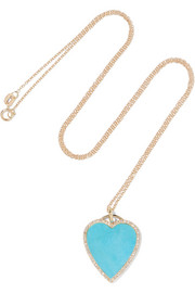 Collier en or 18 carats, turquoises et diamants