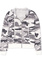 Splendid Camouflage-print stretch-jersey hooded top