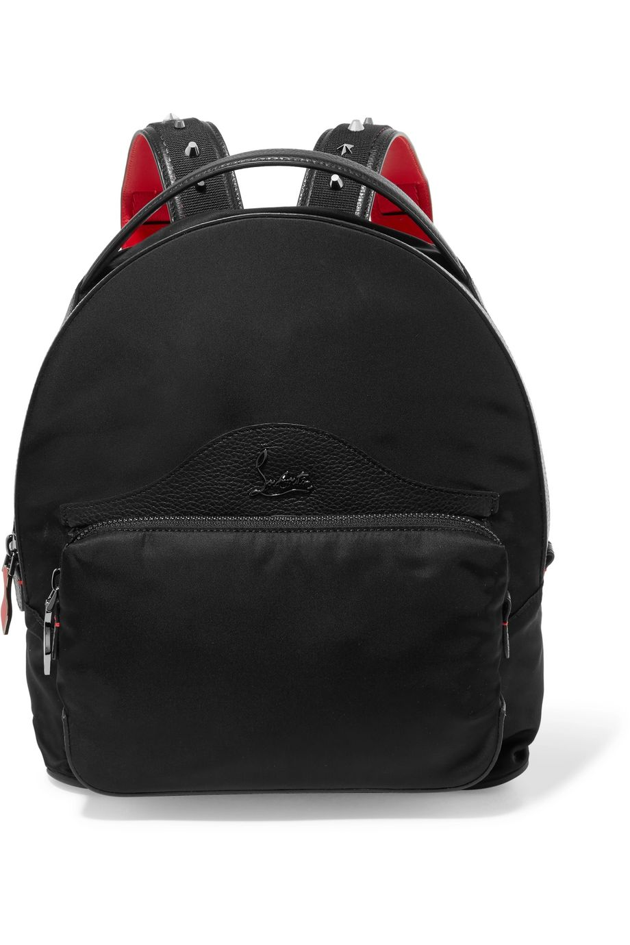 Christian Louboutin Leather-trimmed studded shell backpack