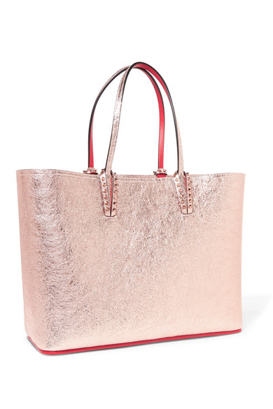 d26d11f89023 Christian Louboutin. Cabata spiked metallic textured-leather tote