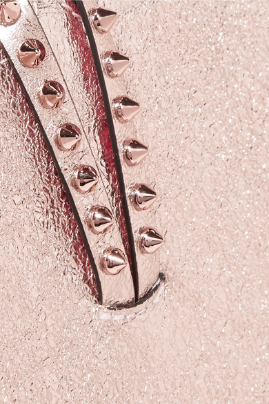 Christian Louboutin Cabata Tote aus strukturiertem Metallic-Leder mit Stachelnieten
