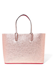 Christian Louboutin Cabata spiked metallic textured-leather tote