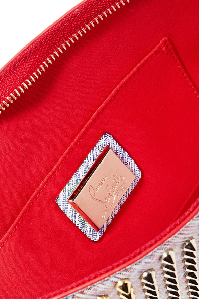a97b1c7f8bc Loubiclutch studded metallic leather clutch