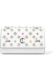 Christian Louboutin Paloma embellished textured-leather clutch