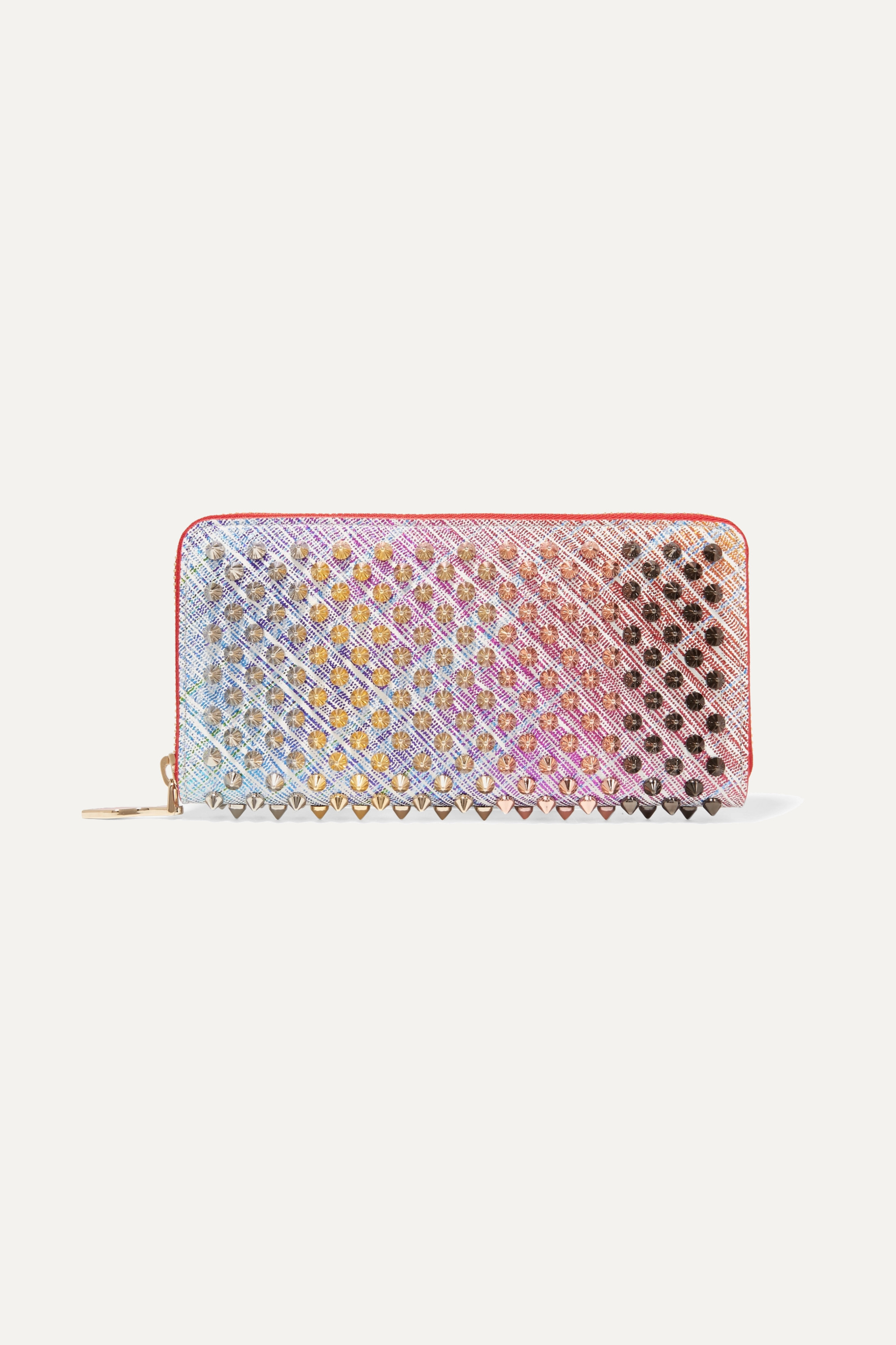 Christian Louboutin Panettone spiked metallic suede continental wallet