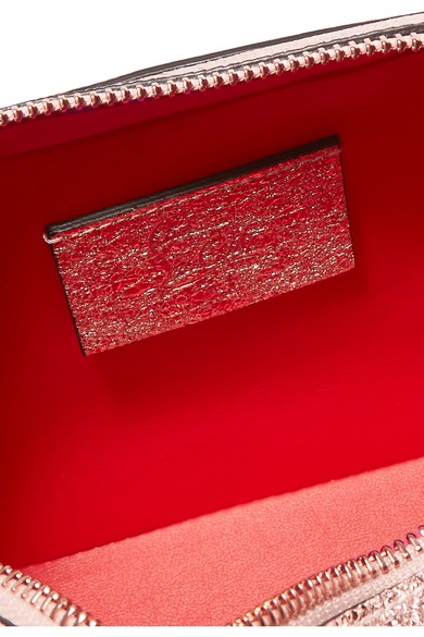 Christian Louboutin Rubylou Schultertasche aus strukturiertem Metallic-Leder