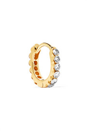 18-karat gold diamond hoop earring