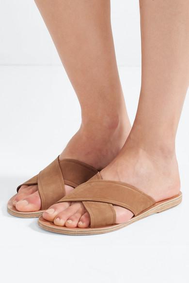Ancient Greek Sandals Thais Pantoletten aus Veloursleder und Leder Geniue Händler Verkauf Online Billig Verkaufen Low-Cost Rabatt Neue Ankunft hqTNTShl