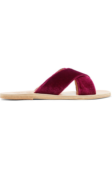 Ancient Greek Sandals Thais Pantoletten aus Samt und Leder