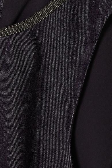 Brunello Cucinelli Jeanskleid mit Federn und Kunstperlen