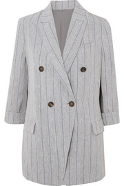 Double-breasted pinstriped linen blazer