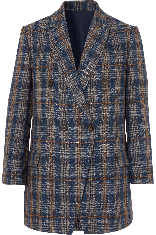 Brunello Cucinelli Sequined checked woven blazer