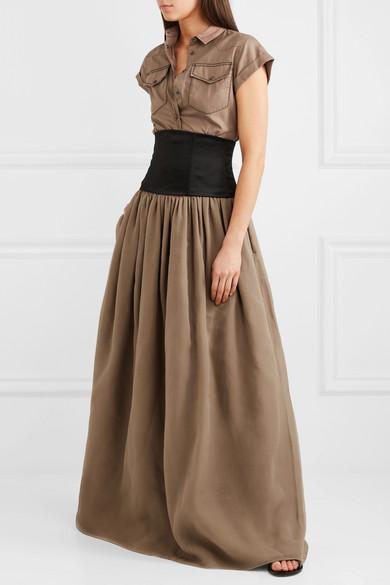 Belted Cotton And Silk-organza Maxi Dress - Brown Brunello Cucinelli Cc1fC41d