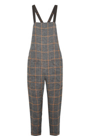 Brunello Cucinelli Monili bead-embellished checked linen-voile overalls