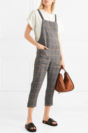 Monili bead-embellished checked linen-voile overalls
