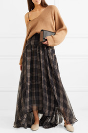 Checked silk-chiffon maxi skirt