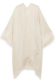 Feather-trimmed metallic gauze cape