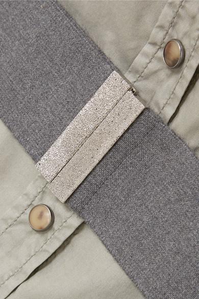 Brunello Cucinelli Safari Oberteil aus Baumwollpopeline mit Gürtel und Cut-outs
