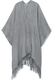 Fringed metallic canvas poncho