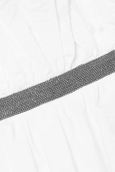 Brunello Cucinelli Verziertes Oberteil aus Popeline aus einer Baumwollmischung mit asymmetrischer Schulterpartie