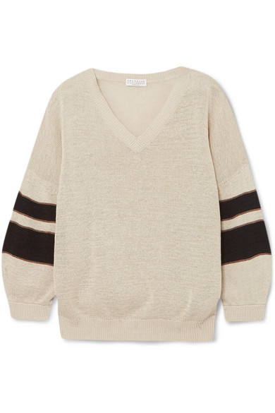 Brunello Cucinelli - Beaded Striped Cotton Sweater - Cream