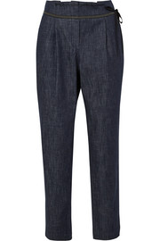 Brunello Cucinelli Cropped beaded tapered jeans