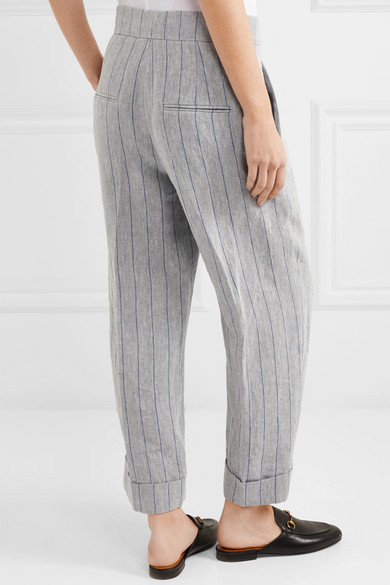 Order Clearance The Cheapest Pinstriped Linen Pants - Gray Brunello Cucinelli Free Shipping Perfect Free Shipping Explore Explore Cheap Online NCARKOT