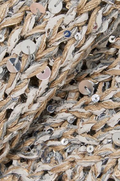 Abschlagen Mit Mastercard Brunello Cucinelli Verkürzter paillettenverzierter Pullover in Lochstrick HPguWG