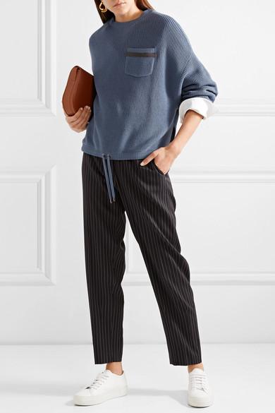 Brunello Cucinelli Pullover aus Baumwolle in Rippstrick mit Verzierung