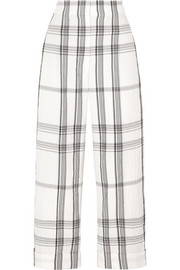 Brunello Cucinelli Checked crinkled cotton-blend pants