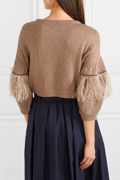 Billig Verkauf Empfehlen Brunello Cucinelli Verzierter Pullover aus einer Baumwoll-Leinen-Seidenmischung mit Federn Rabatt 100% Original Spielraum Bestellen wZdI7M6cUN