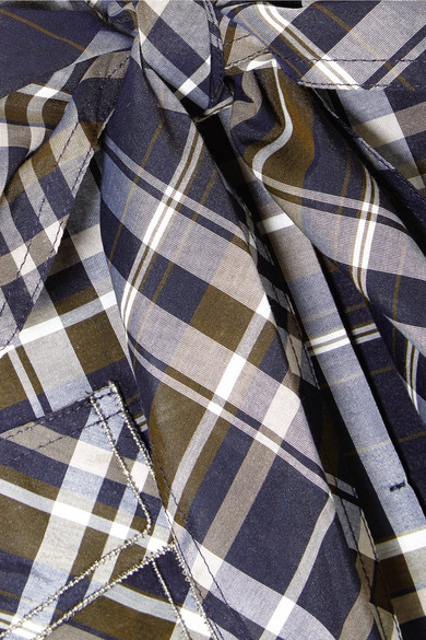 Brunello Cucinelli Verziertes Hemd aus einer karierten Baumwollmischung mit Cut-outs