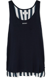 Walk The Line striped satin and jersey tank