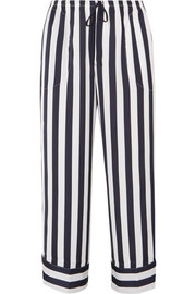 Walk The Line cropped striped satin pajama pants