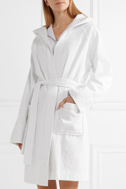 Hooded embroidered cotton-terry robe
