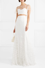 Rime Arodaky Salem embroidered tulle and crepe maxi skirt