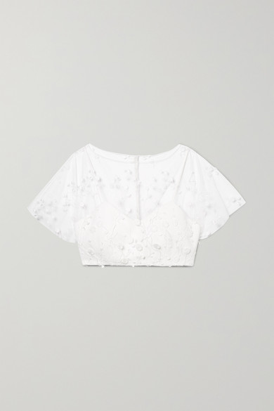 RIME ARODAKY ARWEN CROPPED EMBROIDERED TULLE AND CREPE TOP