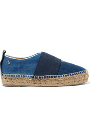 Nina leather-trimmed canvas and denim espadrilles