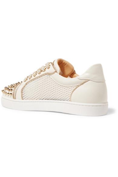 Christian Louboutin AC Vieira Spike Sneakers aus Leder und Mesh