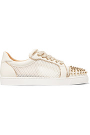Christian Louboutin AC Vieira Spike leather and mesh sneakers